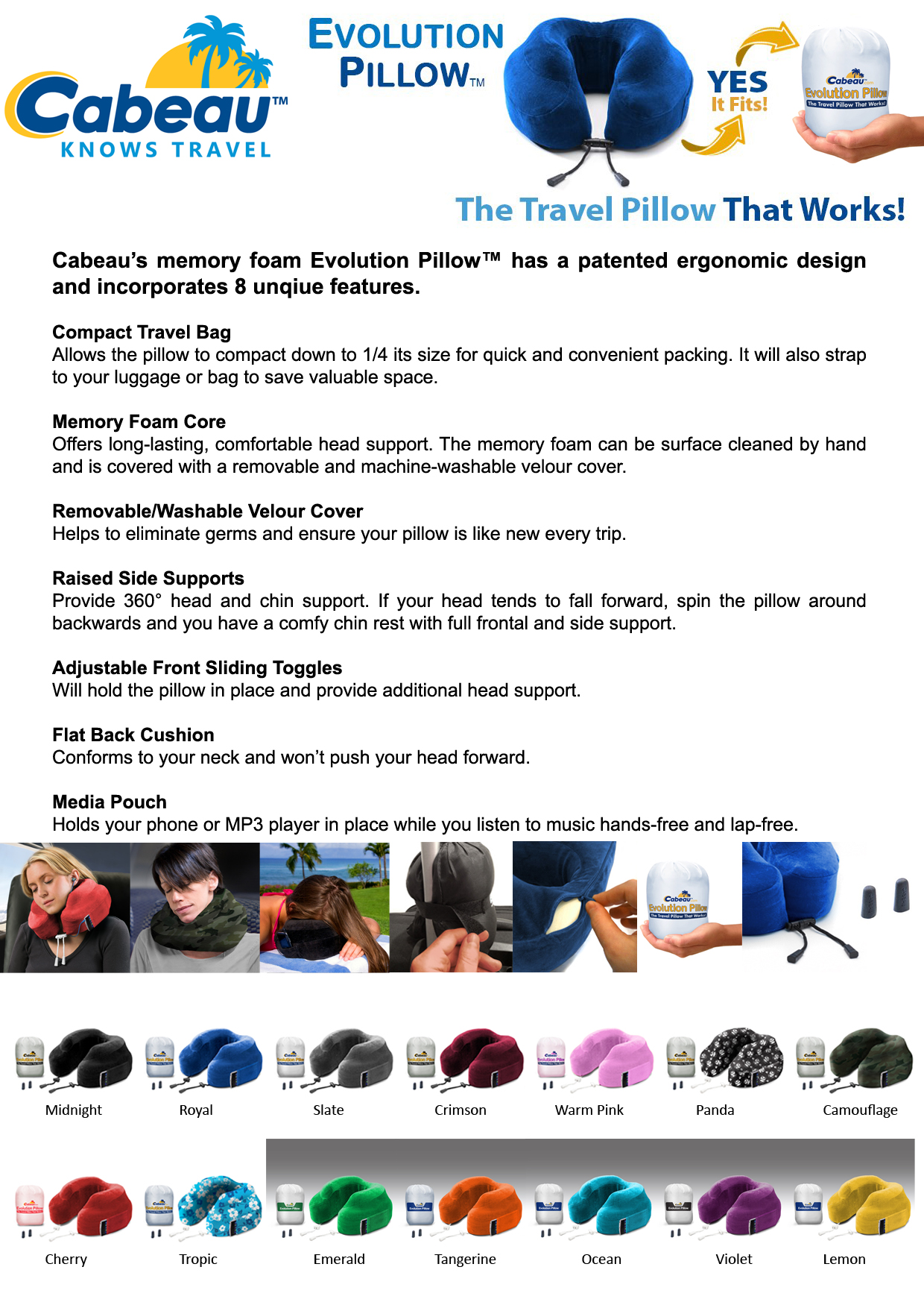 memory foam evolution pillow - Cabeau Evolution Pillow